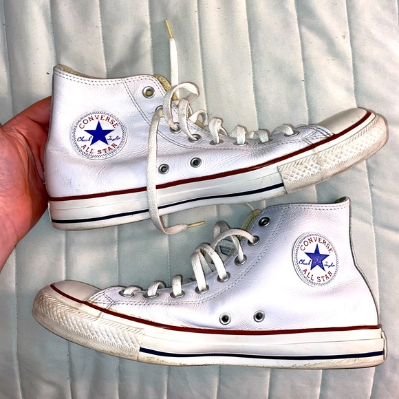 White Faux Leather High Top Converse